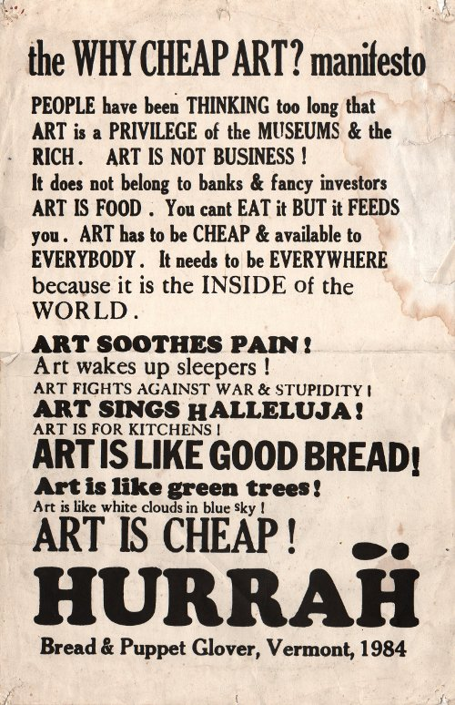 The Cheap  Art Manifesto